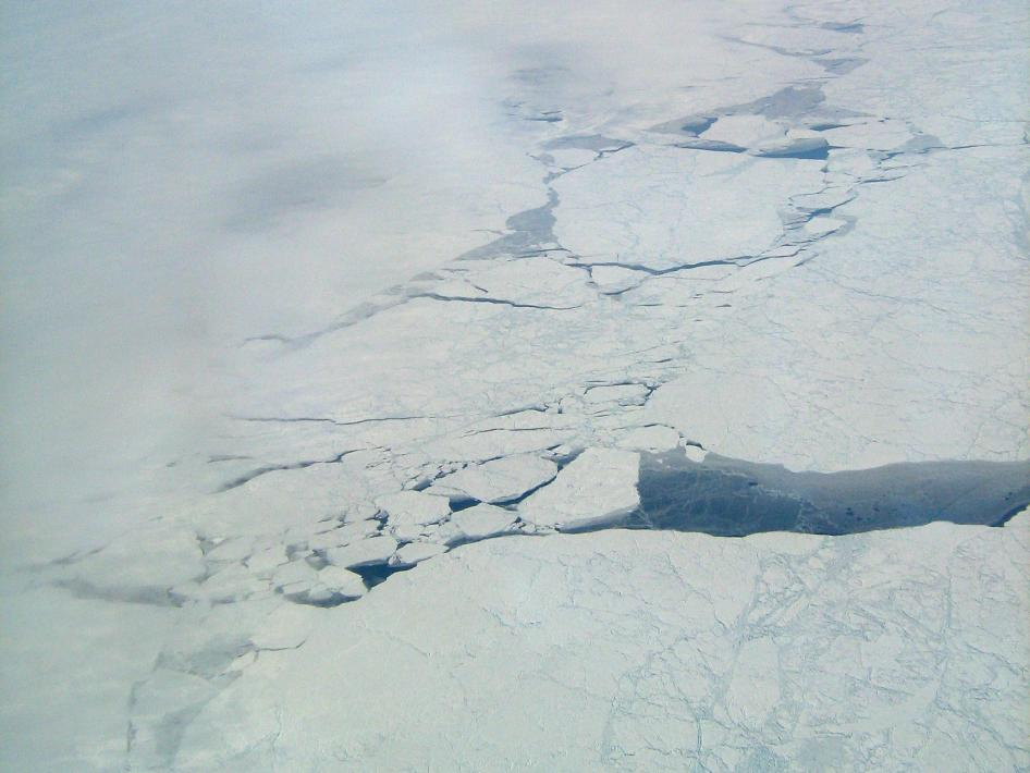 Cracks in Arctic sea ice