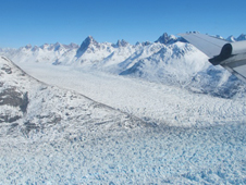 Glaciers in the Helheim Glacier region of eastern Greenland.