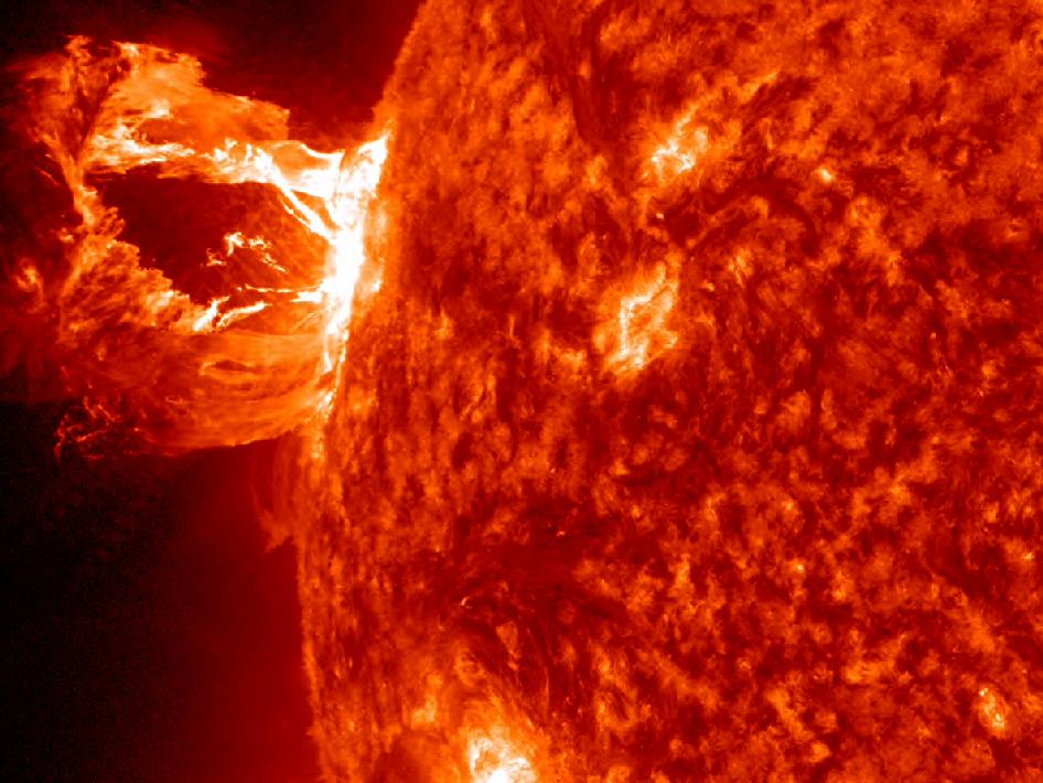SDO observed a beautiful prominence eruption shot off the east limb (left side) of the Sun on April 16, 2012.