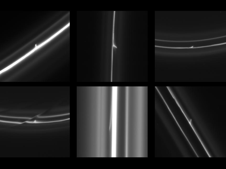 Trails that were dragged out from Saturn's F ring