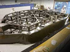 The center section of the James Webb Space Telescope flight backplane, or Primary Mirror Backplane Support Structure.