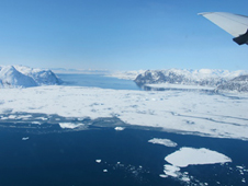 A view of western Greenland's Disko Bay from the air.