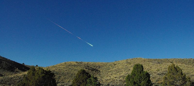 Meteor streaking across the sky above Reno on Sunday morning, April 22
