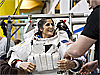 Astronaut Sunita Williams wears a training version of a spacesuit