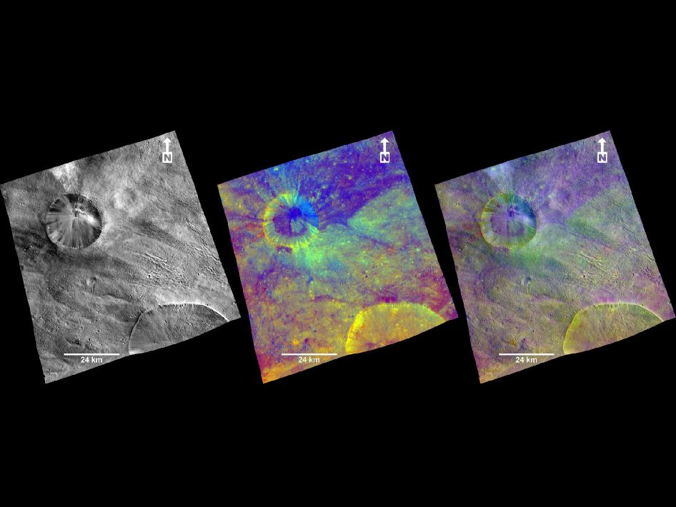 Three views of a terrain with ridges and grooves near Aquilia crater in the southern hemisphere of the giant asteroid Vesta