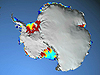 Video screen capture showing the Antarctic continent with major glacier flows in color.