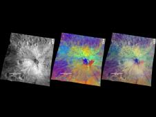 Three views of the comparatively fresh crater named Vibidia on the giant asteroid Vesta