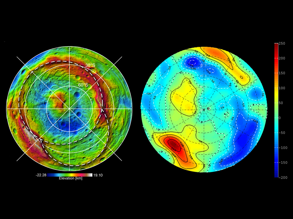 Topography of the southern hemisphere of the giant asteroid Vesta and a map of Vesta's gravity