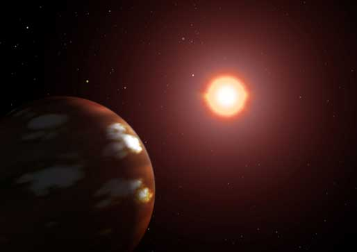 This artist's concept shows the newly discovered Neptune-sized extrasolar planet circling the star Gliese 436.