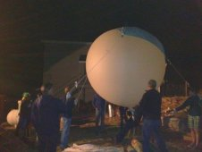 A balloon with attached camera is launched to observe the 2012 Lyrid meteor shower from Bishop, Calif.