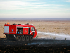 HMA's fire-suppression technology is ideal for a host of firefighting applications, including combating wildfires in areas unreachable by standard fire trucks. Here, HMA's L3 (light, lean, and lethal) vehicle demonstrates these capabilities.