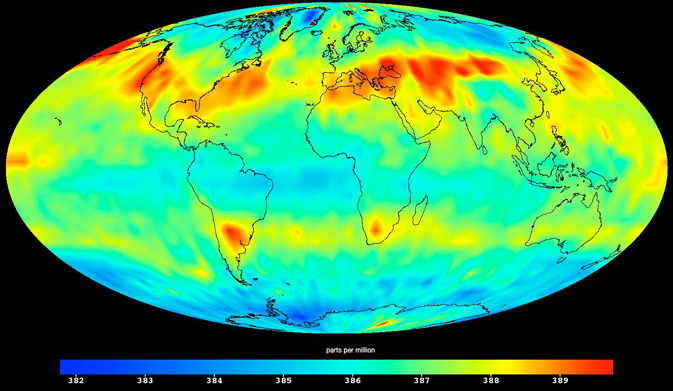 This image was created with data acquired by the Atmospheric Infrared Sounder instrument