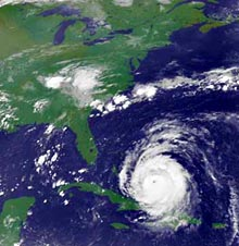 Goes satellite image of Hurricane Isabel