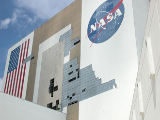 Hurricane Frances damaged the Vehicle Assembly Building at the Kennedy Space Center.