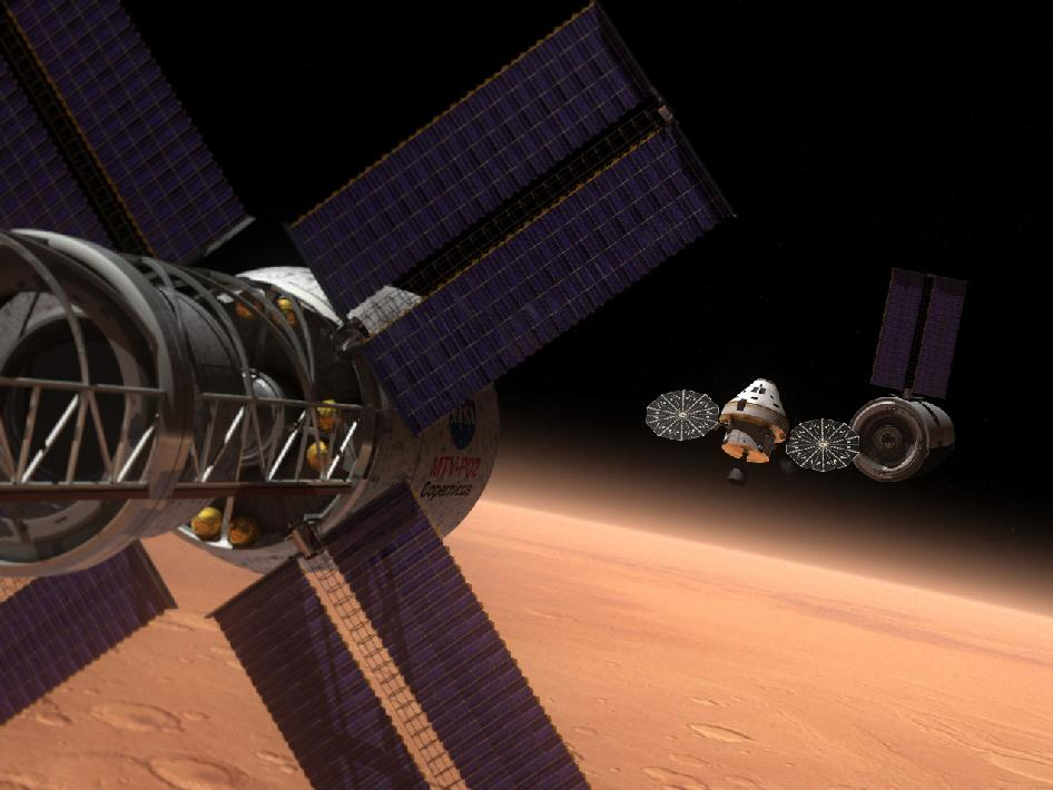 Concept image, Orion Multi-Purpose Crew Vehicle on space mission. Image credit: John Frassanito & Associates