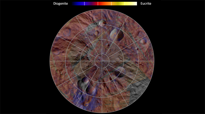 Mineral distribution in the southern hemisphere of the giant asteroid Vesta