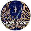 Patch with student's line drawing of a golden eagle against a constellation-filled blue sky with the words Chaminade College Preparatory under a symbol of an M and a cross