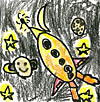 Patch with child's drawing of a rocket, stars and planetary bodies -- one with a happy face