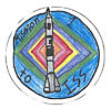 Patch with student's drawing of Soyuz spacecraft atop rocket and words Mission 1 to ISS