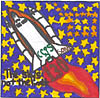 Patch with child's drawing of a spaceship against blue field of gold stars