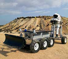 Engineer tests a prototypical Mars vehicle