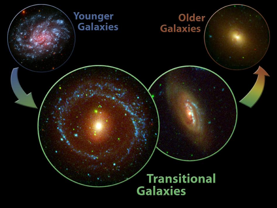 Artist's concept showing the development of galaxies
