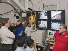 IRVE-3 team crowds the TDT control room during the flight hardware complete inflation system test