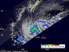 TRMM image of tropical storm Aletta on 15 May 2012 at 0253 UTC