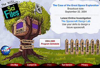 Homepage of the NASA SCI Files site has a cartoon tree with a tree house