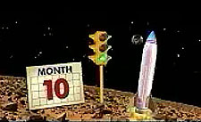 A rocket on planet Mars next to a green signal light and a calendar that says month 10