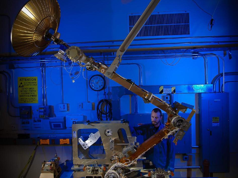 The GPM High Gain Antenna System (HGAS) in integration and testing at Goddard Space Flight Center.