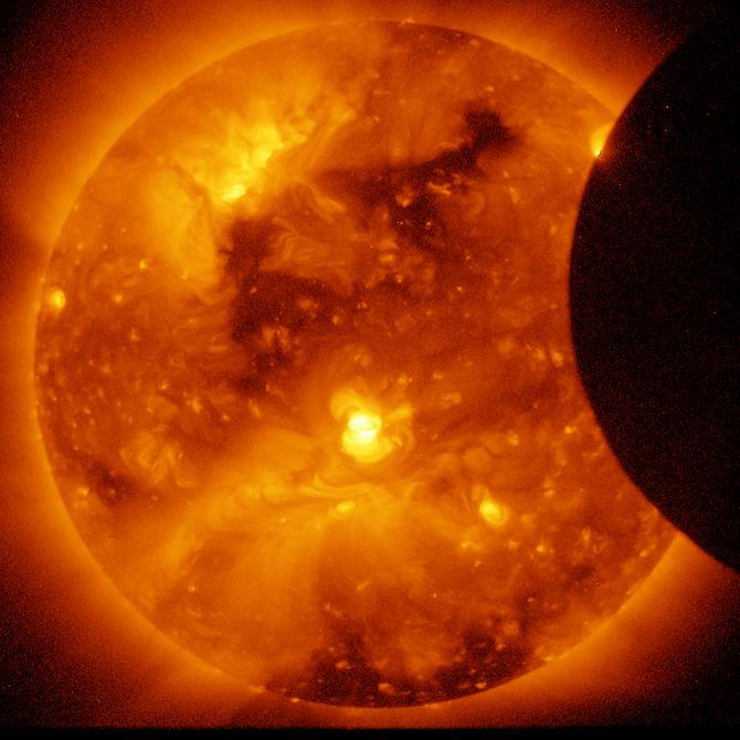 Hinode captured this image of the January 6, 2011 solar eclipse.