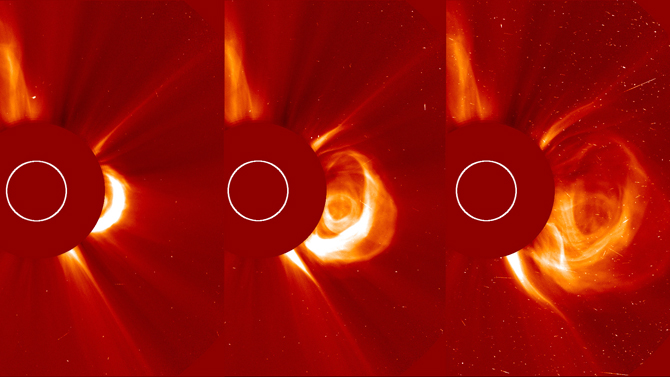 The sun erupted with a coronal mass ejection traveling at over 900 miles per second.