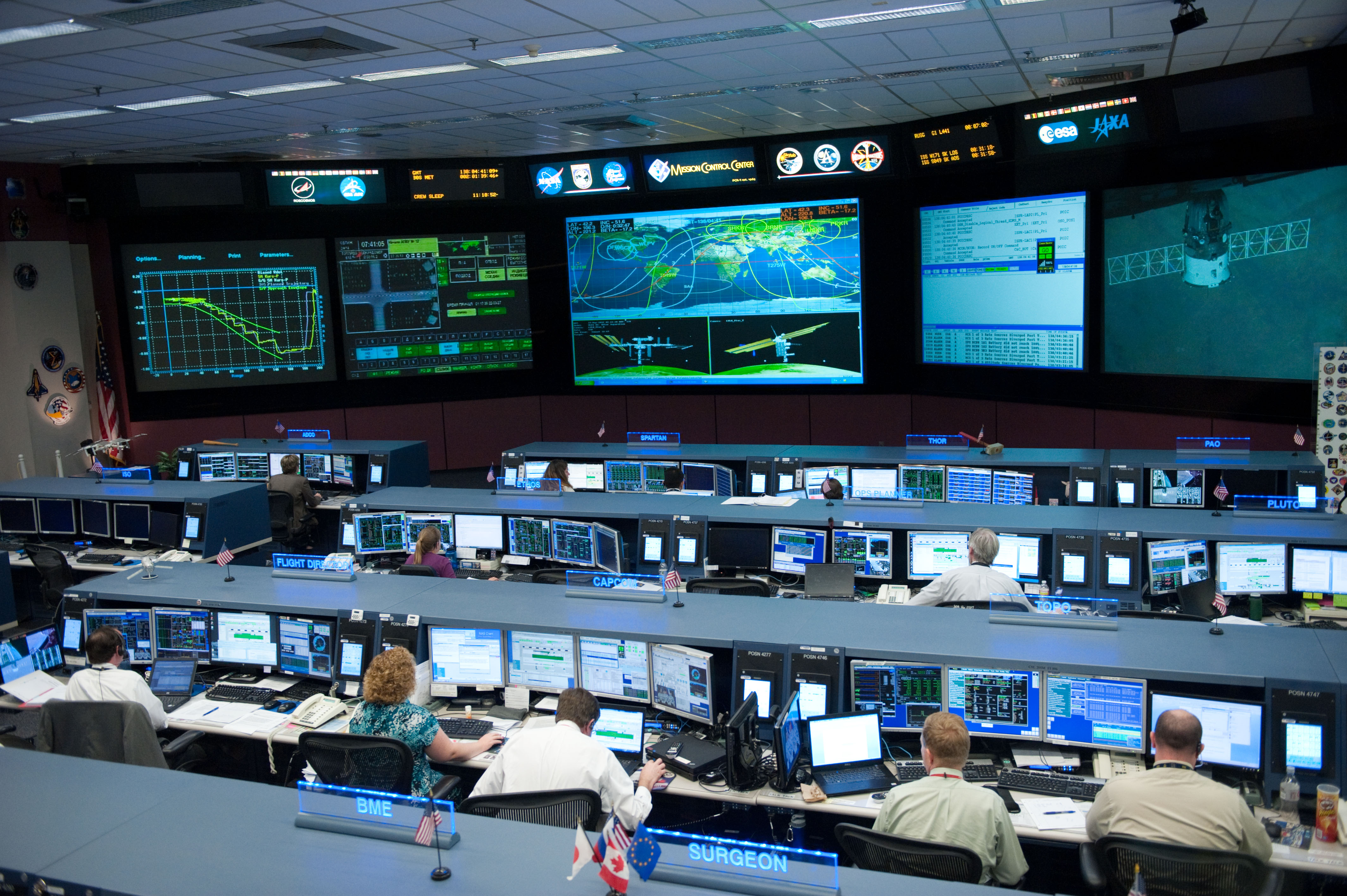 Nasa Space Station Flight Control Room