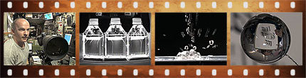 Filmstrip with various science images