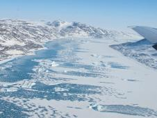 Frozen fjord along northeast coast of Greenland.