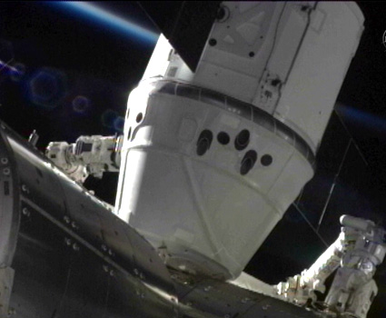 The SpaceX Dragon is berthed to the Harmony module