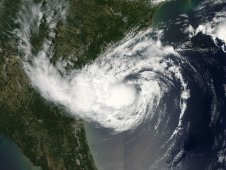 MODIS captured this stunning visible image of compact Tropical Storm Alberto off the Georgia coast on May 20.