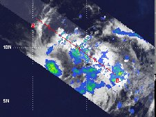 TRMM data revealed a hot tower over 15 kilometers (9.3 miles) high in Tropical Depression 02E.