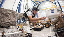 Research and Technology studies team member inside MMSEV during mission simulation.