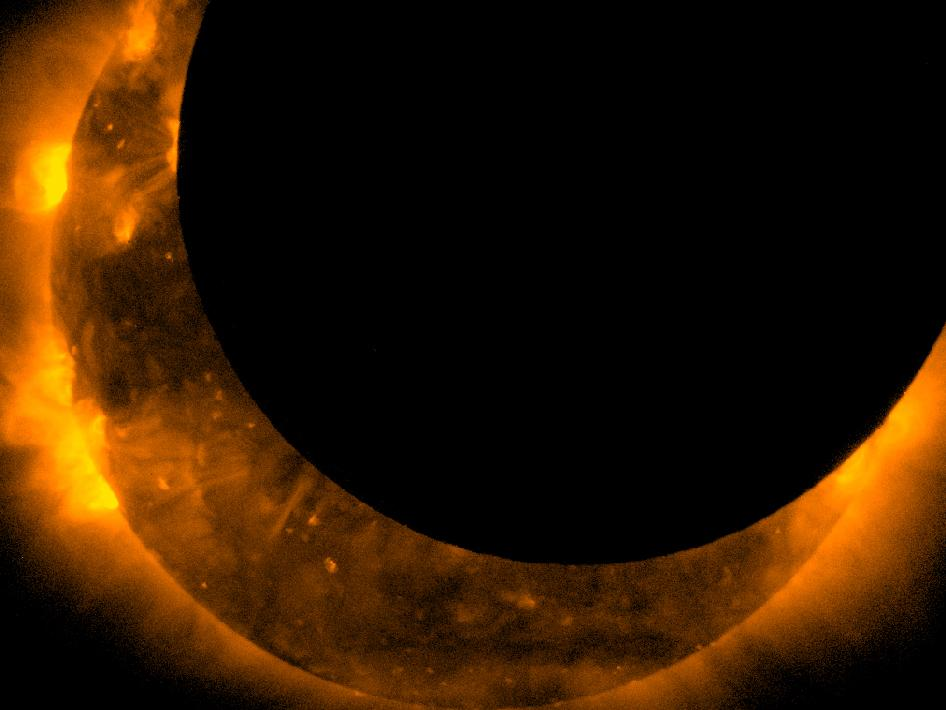 View of Sun at maximum eclipse as captured from Hinode spacecraft.