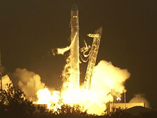 SpaceX Falcon 9 lifts off.