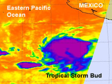 This infrared image of Tropical Storm Bud was captured from the AIRS instrument on NASA's Aqua satellite on May 22 at 4:59 a.m. EDT, and shows a large area of very strong thunderstorms mostly west of the center of circulation.
