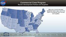 Commercial Crew Program interactive map of the U.S.