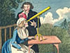 A cartoon depicts a couple dressed in 18th-century clothes observing a Venus transit in 1769