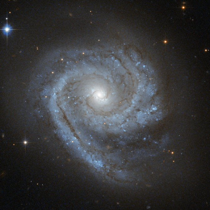 ESO 498-G5's luminous spiral arms with dark filaments wind all the way in to the center