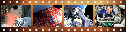 Filmstrip with various technology images
