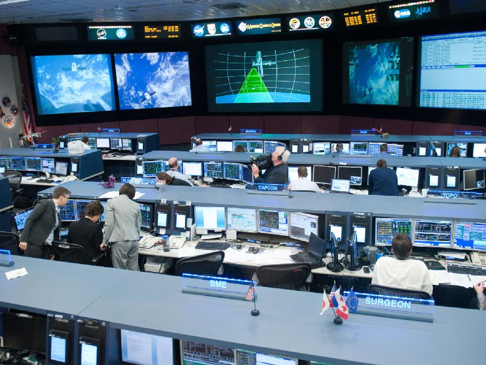 NASA - Overall View of the Space Station Flight Control Room