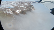 Lower portion of the Academy Glacier in northwest Greenland covered by fog.