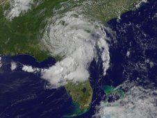 This visible image of Tropical Depression Beryl was taken by NOAA's GOES-13 satellite on Tuesday, May 29, 2012.